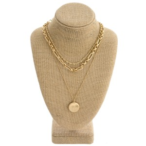 """Layered chain linked boho necklace with disc pendant. Pendant approximately 1"""" in diameter. Approximately 20"""" in length overall."""
