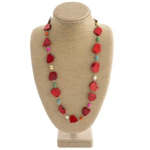 """Heavy natural stone boho necklace featuring multicolor bead details. Approximately 20"""" in length."""