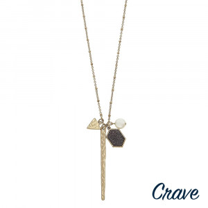 """Long satellite chain hammered bar necklace featuring druzy and pearl accents. Pendant approximately 3"""" in length. Approximately 34"""" in length overall."""