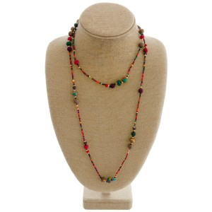 """Natural stone accented long layered seed beaded boho necklace.   - Approximately 40"""" L"""