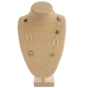 """Semi precious accented gold tone link necklace. Approximately 38"""" in length."""