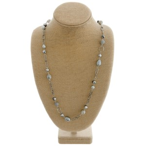 """Long semi precious pearl beaded statement necklace.  - Approximately 34"""" in length with 3"""" extender"""
