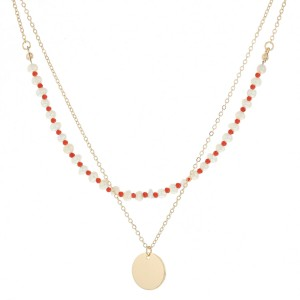 """Pearl beaded layered pendant necklace.  - Pendant approximately .5"""" in diameter - Approximately 18"""" in length overall with 3"""" extender"""