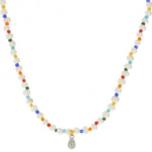 """Pearl beaded necklace featuring a dainty rhinestone pendant.  - Pendant approximately 7mm long - Approximately 14"""" in length overall with 3.5"""" extender"""