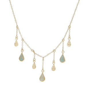"""Natural stone teardrop accented chandelier necklace.   - Approximately 18"""" in length with 3"""" extender"""