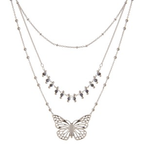 """Layered beaded butterfly necklace.  - Shortest layer approximately 14"""" L - Approximately 18"""" L overall  - 3"""" extender"""