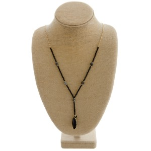"""Long natural stone accented beaded crystal pendant necklace.  - Pendant approximately 1.5"""" L - Approximately 40"""" in length overall with 3"""" extender"""