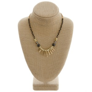 """Natural stone accented beaded metal tassel boho necklace.  - Approximately 18"""" in length with 3"""" extender"""