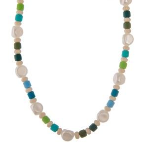 """Faux pearl color block beaded necklace.  - Approximately 14"""" L  - 2.5"""" extender"""
