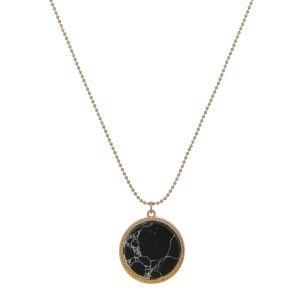 """Round natural stone pendant necklace.  - Pendant approximately 1"""" in diameter - Approximately 18"""" in length overall with 3.5"""" extender"""