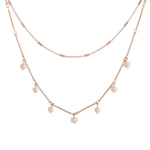 """Link bar layered freshwater pearl necklace.  - Approximately 16"""" in length overall with 3"""" extender"""