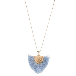 "Long fringe tassel shield pendant necklace.  - Pendant approximately 2.5"" in length - Approximately 34"" in length with 3"" extender"