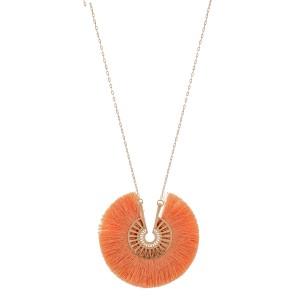 "Long fringe tassel pinwheel pendant necklace.  - Pendant approximately 2.75"" in diameter - Approximately 34"" L overall  - 3"" extender"
