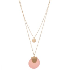 """Gold layered genuine shell pendant necklace.  - Pendant approximately 1.25"""" in diameter - Shortest layer 14""""  - Approximately 16"""" L overall with 3"""" extender"""