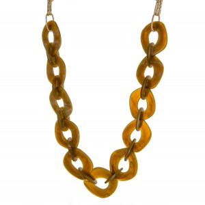 """Long chain linked marble resin statement necklace.  - Approximately 41"""" in length with 3"""" extender"""
