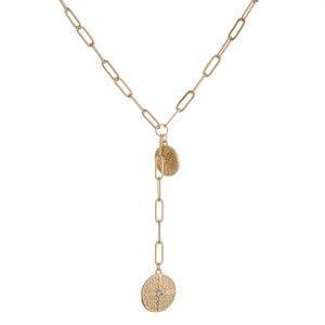 """Gold cable chain linked boho pendant Y necklace.  - Approximately 20"""" in length with 2"""" extender"""