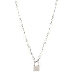 """Chain link lock pendant necklace.  - Pendant approximately .5""""  - Approximately 18"""" L - 3"""" extender"""