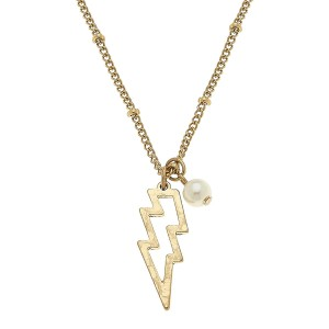 """Worn Gold Lightning Bolt Pearl Necklace.  - Pendant 1""""  - Approximately 16"""" L overall - 3.5"""" Adjustable Extender"""