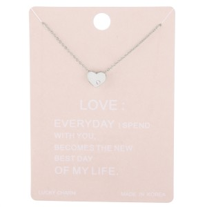 """Dainty rhinestone box heart lucky charm necklace.  - Pendant approximately 1cm - Approximately 15"""" L with 2"""" extender"""