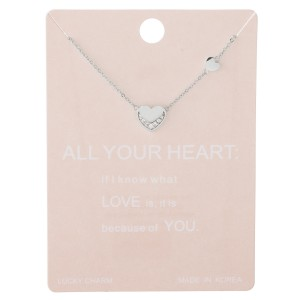 """Dainty rhinestone nested heart lucky charm necklace.  - Pendant approximately 1cm - Approximately 15"""" L with 2"""" extender"""