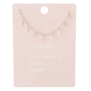"""Dainty Cross Dangle Lucky Charm Necklace.  - Approximately 15"""" L - 2"""" Adjustable Extender"""