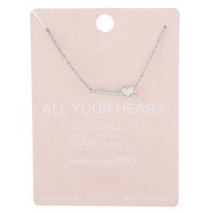 """Dainty rhinestone bar heart lucky charm necklace.  - Pendant approximately 8mm - Approximately 15"""" L with 2"""" extender"""