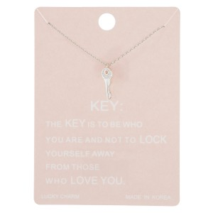 "Dainty key lucky charm necklace.  - Pendant approximately 1cm  - Approximately 16"" in length with 2"" extender"