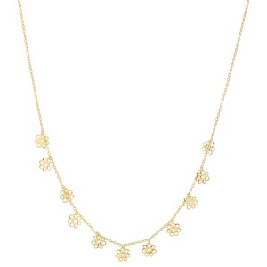 "Gold Dipped Filigree Flower Drip Necklace.  - Approximately 15"" L  - 2"" Adjustable Extender"