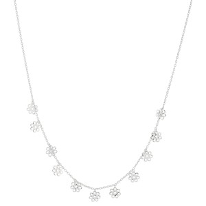 """White Gold Dipped Filigree Flower Drip Necklace.  - Approximately 15"""" L  - 2"""" Adjustable Extender"""