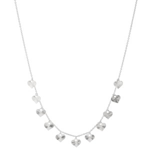 "White Gold Dipped Textured Heart Drip Necklace.  - Approximately 15"" L - 2"" Adjustable Extender"