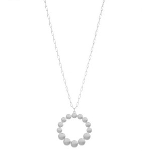 """Long Open Circle Dot Pedant Necklace.  - Pendant 2"""" in diameter - Approximately 32"""" L  - 3"""" Adjustable Extender"""