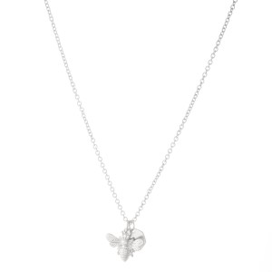 """Honey Bee Necklace in Worn Silver.  - Pendant .75""""  - Approximately 16"""" L  - 3"""" Adjustable Extender"""