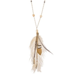 """Long bohemian feather pendant necklace with beaded accents.  - Pendant approximately 6"""" - Approximately 40"""" L overall - 3"""" extender"""