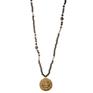 """Long wood beaded coin pendant necklace with semi precious accents.  - Pendant approximately 1.5"""" in diameter - Approximately 30"""" L overall  - 3"""" extender"""