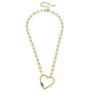 """Rhinestone Carabiner Heart Lock Chain Link Necklace.  - Pendant 1.5""""  - Approximately 18"""" L - 3"""" Adjustable Extender"""