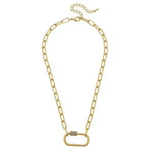 """Rhinestone Carabiner Lock Chain Link Necklace.  - Pendant 1.25""""  - Approximately 18"""" L - 3"""" Adjustable Extender"""