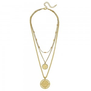 """Chain Link Layered Coin Necklace in Matte Gold.  - Coin Pendant 1.25""""  - Shortest Layer 14"""" L - Approximately 22"""" L overall - 3"""" Adjustable Extender"""