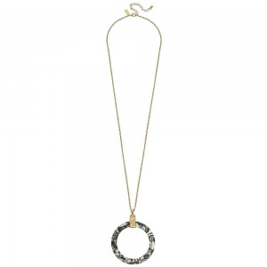 """Long Necklace with Open Circle Resin Pendant.  - Pendant 2"""" in diameter - Approximately 34"""" L - 3"""" Adjustable Extender"""