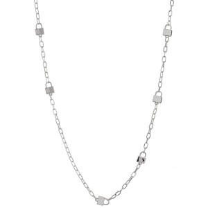 """Long Lock Chain Link Necklace.   - Approximately 30"""" L  - 2.5"""" Adjustable Extender"""