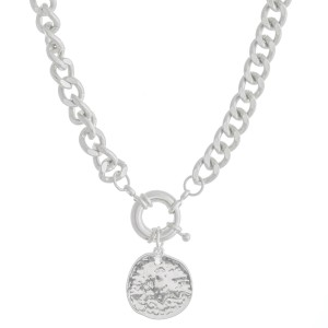 """Curb Chain Link Coin Necklace Featuring a Front Clasp Closure In Worn Silver.  - Pendant 1""""  - Front Clasp Closure - Approximately 14"""" L  - 2.5"""" Adjustable Extender"""