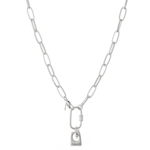 """Chain Link Carabiner Lock Necklace.  - Front Lobster Clasp Closure - Approximately 18"""" L"""