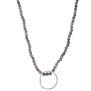 """Semi Precious Natural Stone Beaded Necklace with Silver Hammered Circle Pendant.  - Pendant 1"""" in diameter - Approximately 16"""" L - 3"""" Adjustable Extender"""
