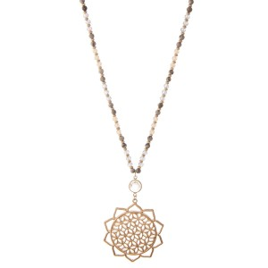 """Long Semi Precious Natural Stone Beaded Gold Flower of Life Pendant Necklace.  - Pendant 3.5"""" L - 2.75"""" in diameter - Approximately 34' L overall - 3"""" Adjustable Extender"""