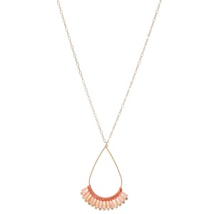 """Long chain necklace featuring a jeweled teardrop pendant with woven details.  - Approximately 36"""" L"""