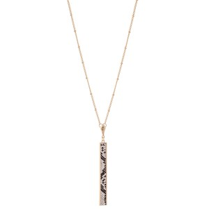 "Long Snakeskin Bar Necklace.  - Pendant 3"" L - Approximately 36"" L overall - 3"" Adjustable Extender"