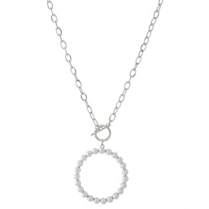 "Pearl Circle Pendant Toggle Bar Necklace.  - Toggle Bar Closure - Pendant 1.5"" in diameter - Approximately 18"" L  - 3"" Adjustable Extender"