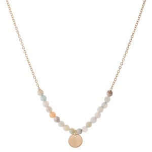 "Natural Stone Beaded Necklace with Gold Accent.  - Pendant 1cm  - Approximately 16"" L  - 3"" Adjustable Extender"