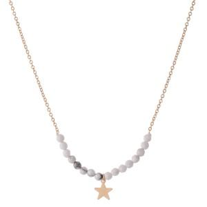 "Semi Precious Beaded Star Necklace.  - Pendant 1cm  - Approximately 16"" L  - 3"" Adjustable Extender"
