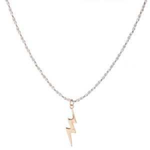 """Lightning Bolt Necklace with Rope Like Chain.  - Pendant 1""""  - Approximately 16"""" L - 3"""" Adjustable Extender"""