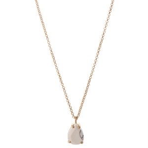 "Natural stone teardrop pendant necklace.  - Pendant approximately .5""  - Approximately 18"" L overall - 3"" extender"